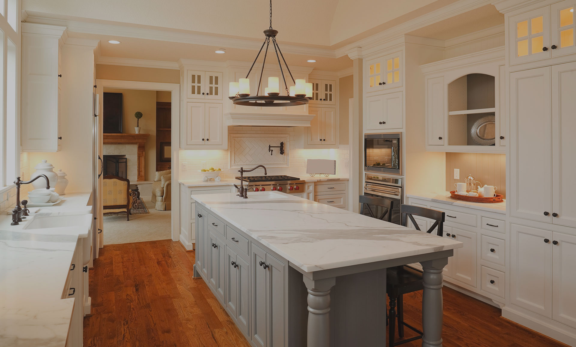 white kitchen with matching cabinetry